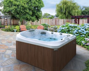 Stunning outdoor hot tub installation in spring.