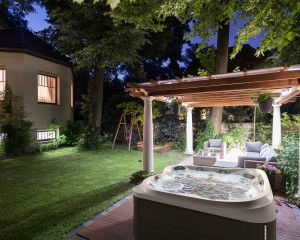 Private outdoor Jacuzzi Hot Tub installation.